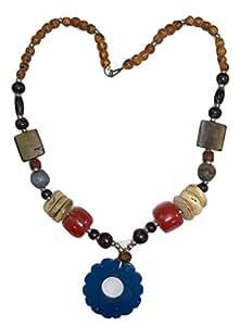 Goethnic Collier avec pendentif en forme de corne Chakra Animaux-Animaux-Perles métal-bois et corne Tribal objet d'Art