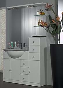 mobile arredo bagno cm 80+30 con lavabo sottopiano bianco lucido ... - Lucido Cabinet Grigio Lavandino