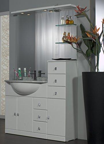 Mobile arredo bagno cleo cm 80+30 con lavabo sottopiano bianco lucido con specchio mobili