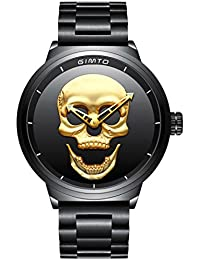 fe9c341db6c3 Hombre de cráneo creativo reloj Cool acero inoxidable grande dial Vintage  Boy cuarzo reloj militar (