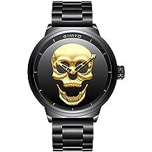 Hombre de cráneo creativo reloj Cool acero inoxidable grande dial Vintage Boy cuarzo reloj militar (
