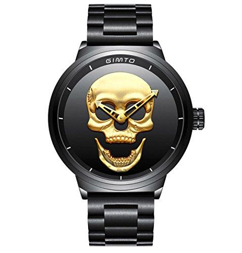 Creative Skull Orologio da uomo freddo in acciaio inossidabile con quadrante grande, orologio da polso al quarzo militare (oro nero)