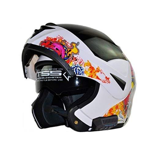 Erwachsene Bluetooth Motorrad Helm Carbon Doppel Objektiv Flip Up Motorrad Helm Outdoor Vollgesichts Motocross Caps Moto Zubehör in Allen Jahreszeiten -