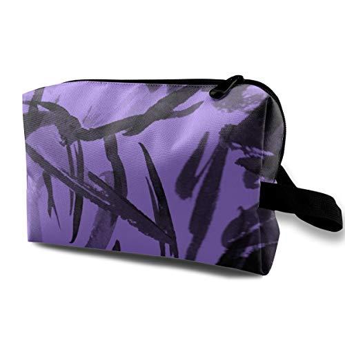 Black on Purple India Ink Marks_4946 - Trousse per cosmetici e cosmetici, da appendere, per donne e ragazze, 25,4 x 12,7 x 15,9 cm