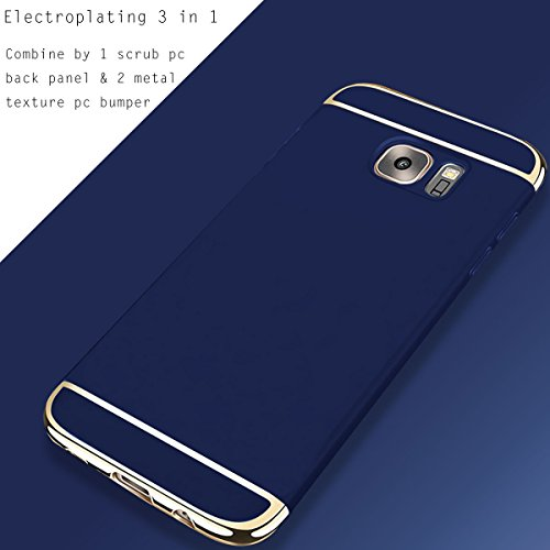For Custodia Apple iPhone 6S/6 Plus,HAVE1SEE Hybrid 3 in 1 Ultra Thin Anti-Drop Anti-Skidding Scratch Resistant Shockproof Metal Textured Grip Case for Apple iPhone 6S/6 Plus Silver Blu scuro