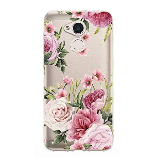 WIWJ Handyhülle für Huawei Honor 6A Hülle Weich TPU Case Mikroporös Design Ultra dünn Silikon Gel Cover Clear Transparent Durchsichtig Schutzhülle Mädchen Kratzfest Bumper Tasche-Rosa
