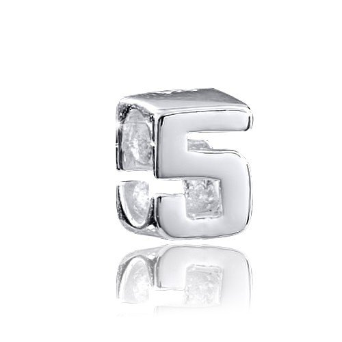 MATERIA 925 argento perle numero 5 per perline bracciali/collane #1497