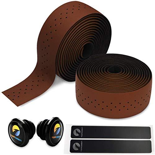 Topcabin® Camouflage-Serie, Bequeme Gel-Lenkerbänder für Rennräder, mit reflektierenden Lenkerendkappen, Dark Brown(PU a pair)