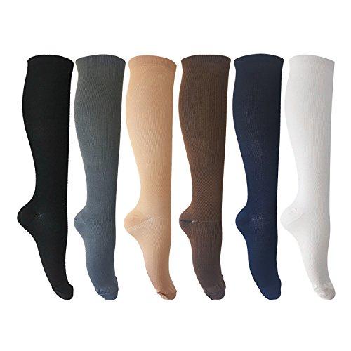 MIXSNOW 6 Pairs of Unisex Compression Socks (15-20mmHg) for Running, Nurses, Shin Splints, Travel, Flight, Pregnancy & Maternity