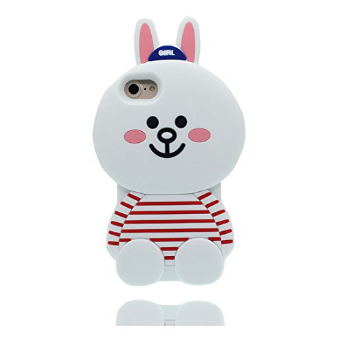 "iPhone 7 Handyhülle, iPhone 7 Hülle Cover [3D Cartoon Hase Stripe Cute] Gel-Shell TPU flexibles Shell iPhone 7 case 4.7"" Staub Kratzer beständig und Touchstift Weiß"
