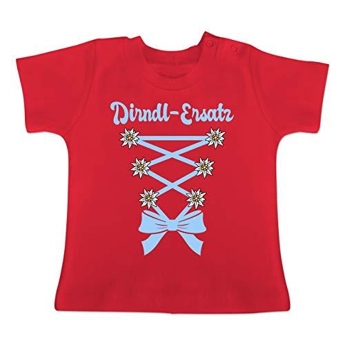 Oktoberfest Baby - Dirndl-Ersatz Korsage - hellblau - 3-6 Monate - Rot - BZ02 - Baby T-Shirt Kurzarm