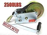 Heavy Duty Steel Cable Hand Winch 2500lbs(1136kg) 2-Speed Gear Boat Trailer Winch