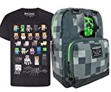 Minecraft Creeper Inside Backpack and Sprites T-Shirt Gift Set Bundle