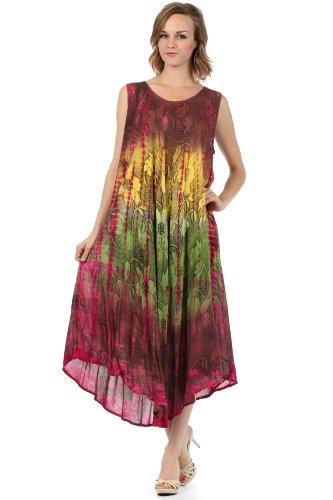 Sakkas 10831 Ombre Floral Tie Dye Tank Mantel Kaftan Viskose Kleid - Fuchsia / One Size (Sleeveless Floral Tank Kleid)