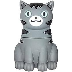 Gato 8 GB - Puss Cat - Memoria Almacenamiento de Datos - USB Flash Pen Drive Memory Stick - Diseño único y Original - Gris Negro