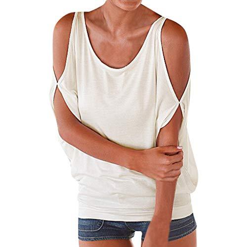 SUMTTER T-Shirt Damen Kurzarm Kurzarmshirt Damen Kurzarmbluse O-Neck Damen Bluse damenkurzarm Kalte Schulter Lose Tops Damen
