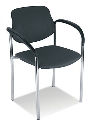 Dreams4Home Konferenzstuhl Spree, Besucherstuhl Praxisstuhl mit Armlehnen Stapelstuhl Stuhl, Kunstleder, schwarz