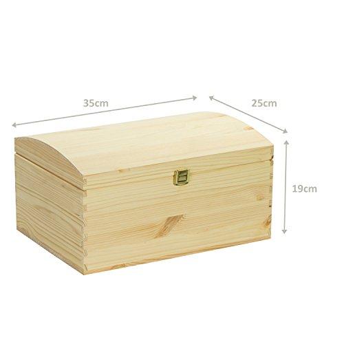 VENKON – Holztruhe mit gewölbtem Deckel aus Massivholz mit Metallverschluss – Kiefer naturbelassen unbehandelt, 35x25x19cm - 6