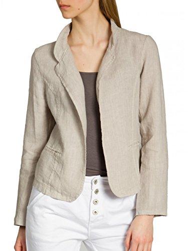 CASPAR BZR004 kurzer Damen Leinen Sommer Blazer, Farbe:beige;Größe:38 M UK10 US8
