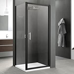 Porte pivotante Zephyros G 90cm verre Transparent, profilés Noir