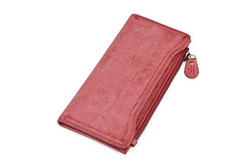 Genda 2Archer Portafoglio Lungo del Cuoio Genuino Dell'annata di Modo Borsa del Cellulare per Uomini e Donne (9.5cm*1cm*19.8cm) (Bianco) Rosso