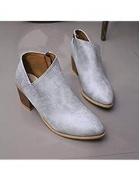 ee62a1a93bd9 NAFTY Chaussures Femme Automne Femmes Chaussures Bottes À Talons Hauts  Rétro Femme Bloc Talons Hauts Bottines