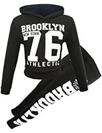GUBA® New Girls Brooklyn New York 76 and Star Hooded Crop Top & Bottom Set Kids Tracksuit Lounge Wear