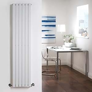 Milano Capri - White Vertical Flat Panel Designer Radiator 1600mm x 354mm - Vertical Column Rad - Luxury Central Heating - Fixing Brackets included - 15 YEAR GUARANTEE!