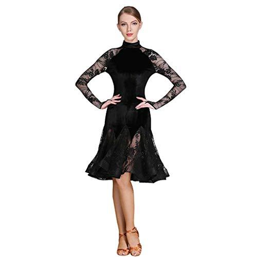 YTS Latin Dance Dress, Kostüm Adult Schwarz Latin Dance Dress (Farbe : SCHWARZ, größe : XL)