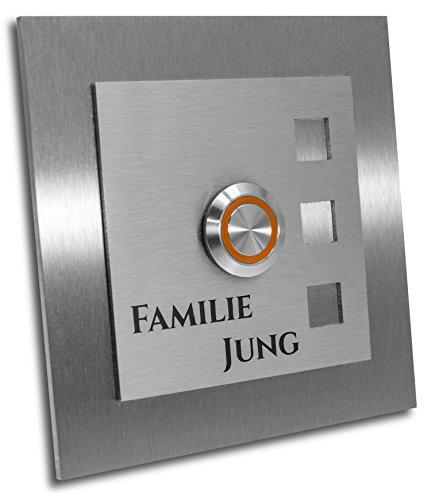 "Jung-Edelstahl-Design Türklingel mit Gravur\""Manhattan\"". Klingelplatte 10x10 cm. LED Taster orange. Klingelschild V2A Edelstahl."