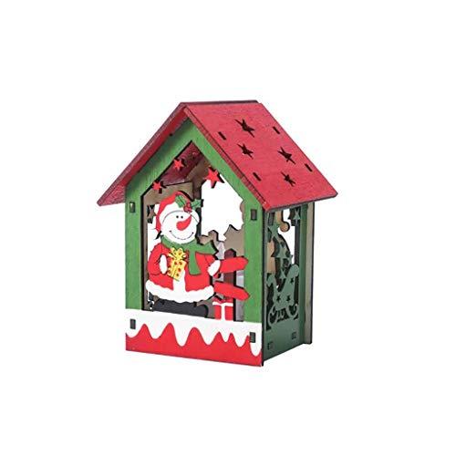 FiedFikt Navidad Mini LED Casa de Madera Colgante Decoración de Navidad Árbol Colgante de árbol Colgante...