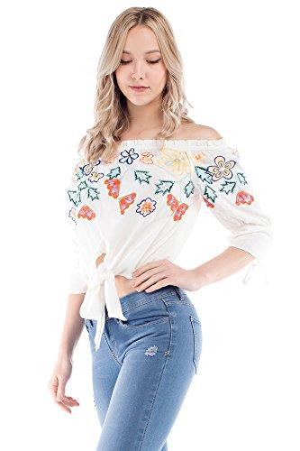 Solitaire Tie Front Off Shoulder (x-large, White) - Tie-front Woven Shirt