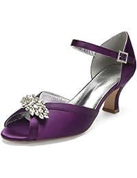 42de8860ed3 Elobaby Femmes Bout Rond Satin Chaussures De Mariage Peep Strass Boucle  Partie Slip sur Bal Pompes