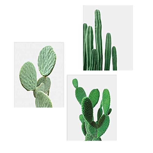 3pcs Cuadro Lienzo Cactus Decor Plantas Nórdicas