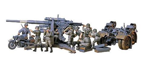 Tamiya 300035017–1:35WWII Military Set (German) Anti-aircraft gun 8.8with motorbike (9).