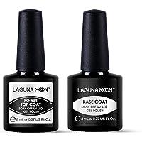 Lagunamoon Base Coat y Top Coat Semipermanentes, 2pcs Kit de Uñas de gel UV LED, Esmaltes Semipermanentes Set de Regalo para Manicura y Pedicura