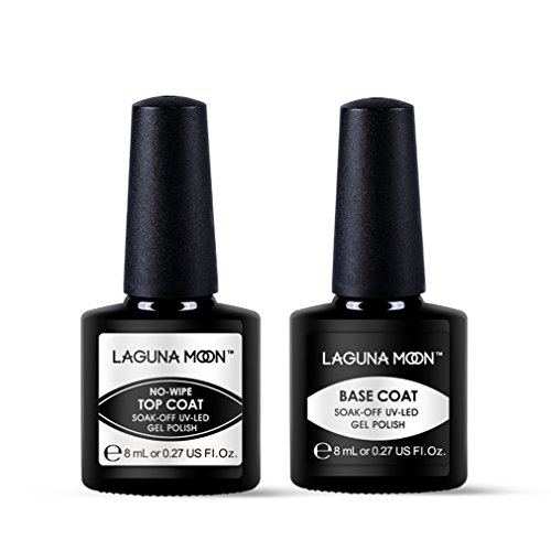 Lagunamoon Smalto Semipermanente, Base e Top Coat Semipermanente, 2pz Gel per Unghie, Regalo Kit Semipermanente di Gel Ricostruzione per Unghie per Manicure e Pedicure