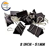 #10: Saisan Binder Clips Large2-Inch (51mm) Paper Holding Capacity Files Organized And Secure 12 Pcs