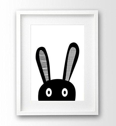 Kinderzimmer Poster ungerahmt, Hase Selfie, schwarz weiß