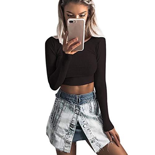 Luckycat Frauen Langarm O-Hals Tight elastische T-Shirt Blusen Crop Tops Blusen Sweatshirt Pullover Oberteile Mode 2018