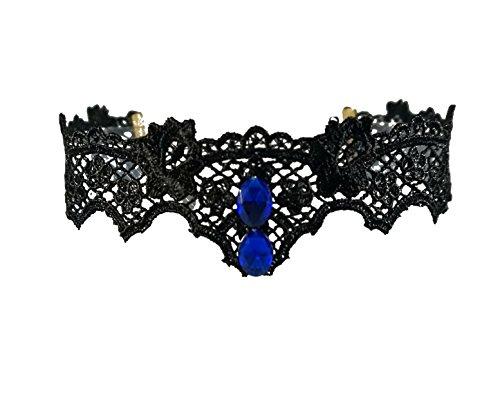 Gotik Spitzen Halskette charmante viktorianische Halskette blau Strass choker tattoo