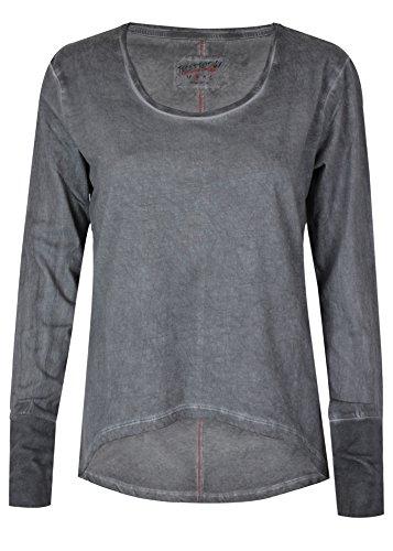 trueprodigy Casual Damen Marken Long Sleeve einfarbig Basic, Oberteil cool und stylisch mit Rundhals (Langarm & Slim Fit), Top für Frauen in Farbe: Anthra 1063170-0403-XS