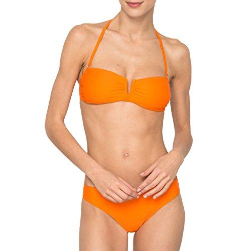 R Edition Frau Bikinioberteil In Bandeauform, Uni Orange