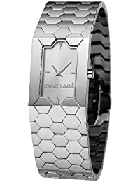 Roberto Cavalli Ladies Beehive Analogue Watch R7253139545 with Quartz Movement, Stainless Steel Bracelet and Silver Dial