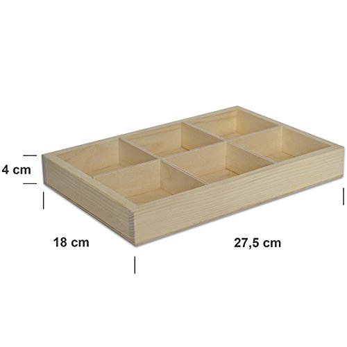 Small Wooden Tray Display | 6 Compartments | 27.5 x 18 cm | Case Shadow Plain Craft Trinket Wood Sorting Storage Shelf Box Printer | Perfect for Decoupage, Storage, Decoration
