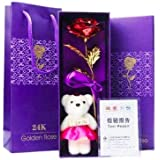 A ONE CREATIONS Artificial Rose Flower with Teddy Bear and Carry Bag (Red, Golden )