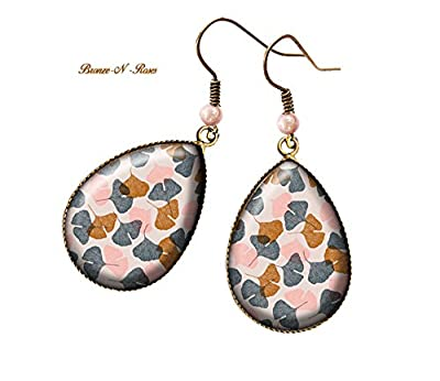 Boucles d'oreilles gouttes Petites feuilles d'automne bijou cabochon fantaisie bronze-n-roses