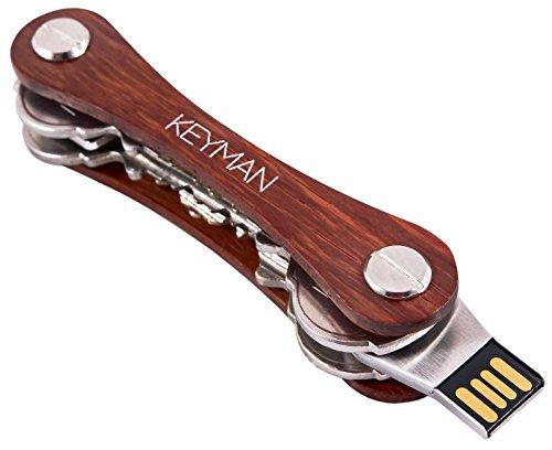 Keyman key organizer in legno | organizzatore chiavi con chiavetta usb 16 gb | portachiavi con elegante scatola regalo | astuccio portachiavi in legno