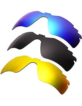 Hkuco Mens Replacement Lenses For Oakley RadarLock-Edge Blue/Black/24K Gold Sunglasses