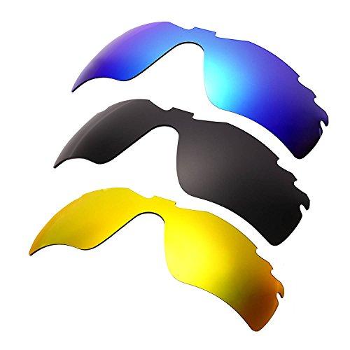 HKUCO Mens Replacement Lenses For Oakley Radar Path-Vented Blue/Black/24K Gold Sunglasses